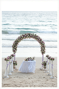 phuket sunset beach wedding setup