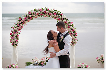 sunset beach wedding phuket