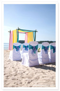 beach wedding venue setup